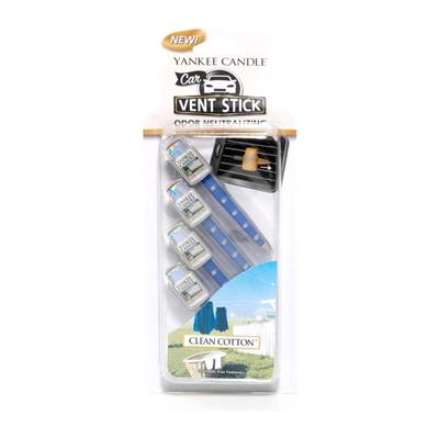 Yankee Candle Vent Stick Air Freshener - Clean Cotton CASE PACK 6