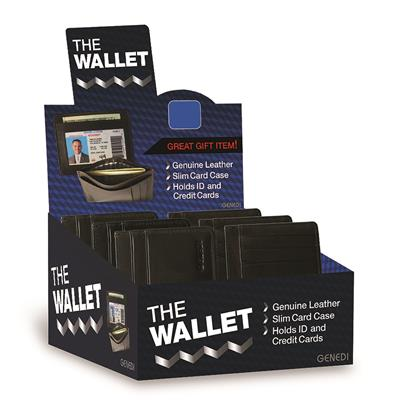 Genedi Leather I.D. Wallet Display - 24 Piece
