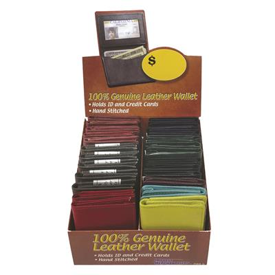 Deluxe Leather I.D. Wallet Display - 24 Piece Assortment
